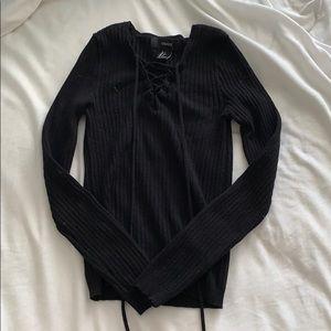 Black Ribbed Long Sleeve Shirt